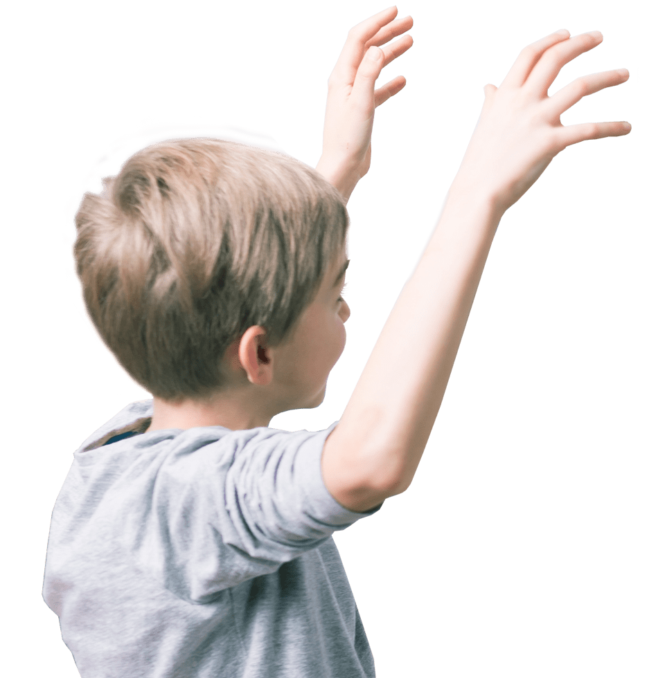 Child with arms raised