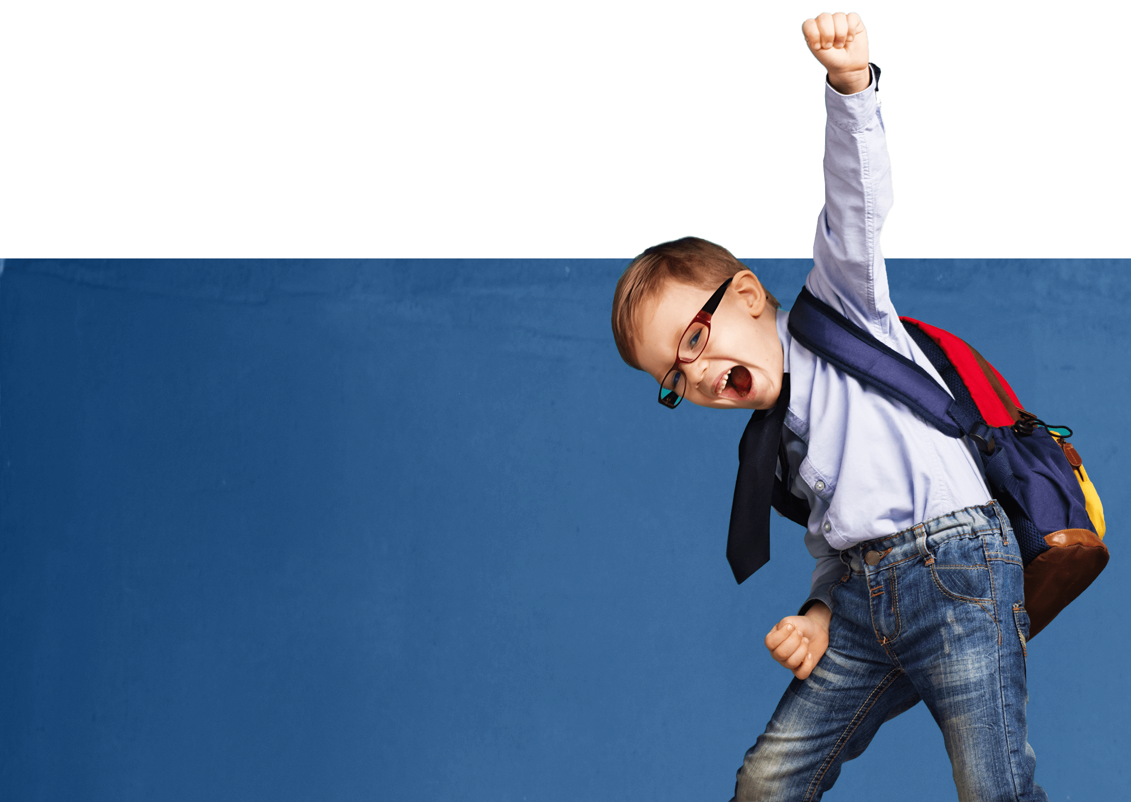 Background photo of boy with arm raised